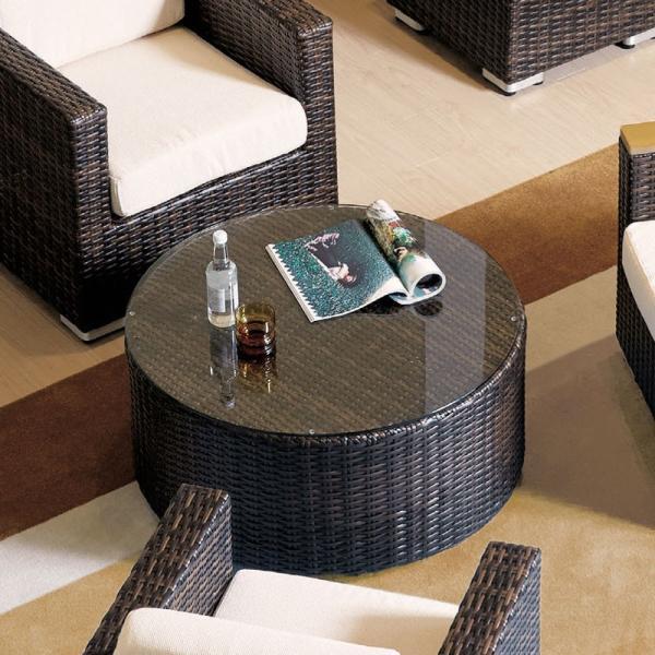 業務用籐ラタン風ガーデンソファー用丸型ガラスTOPセンターテーブル rhodes-roundtable