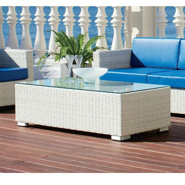 業務用籐ラタン風ガーデンソファー用センターテーブルホワイト rhodes-table2w