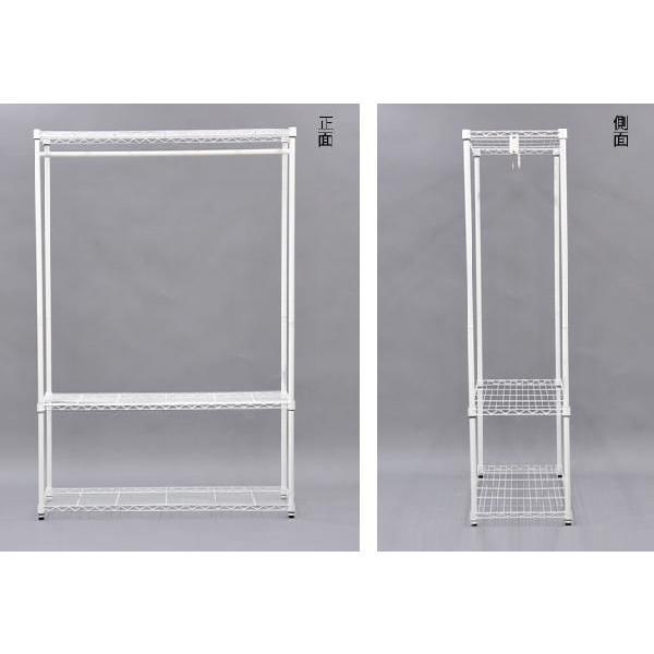 (S)ホワイトスチールハンガーラック幅120cm (HR-W1200)幅120cm 奥行き45cm 高さ180cm 送料無料 高さ調節可能な白色のスチールラック衣類収納 ハンガー掛け|kaguto|04