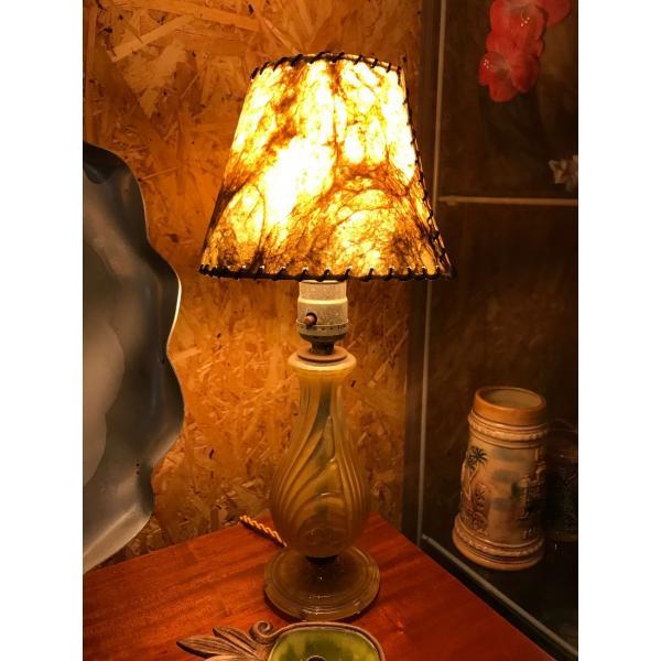 グラステーブルランプ アンティークランプ ミッドセンチュリー|kahinetshop