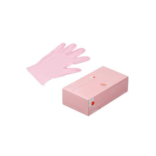 ニトリル手袋100枚使い捨て粉無PINK(S)N450