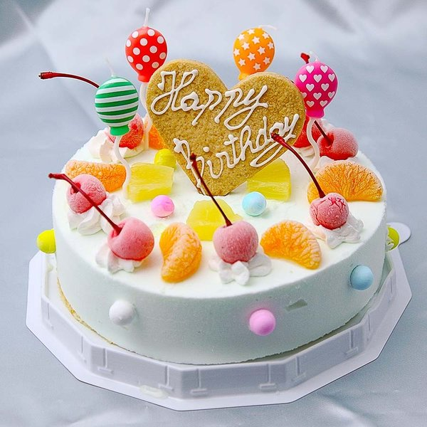 お誕生日アイスケーキサマーレインボーケーキラムネ味6号18cm