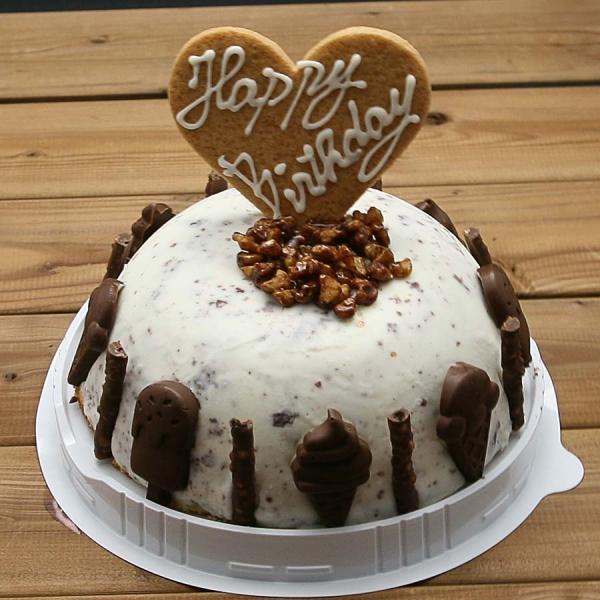 バースデーケーキチョコチップアイスケーキギフトお誕生会ホームパーティープレゼントカード付きアイスクリーム魁ジェラート