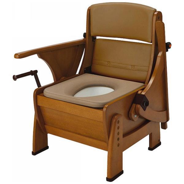家具調ポータブルトイレ 介護トイレ ナーセントポータブルトイレ 木製ピボット型 キャスターなし