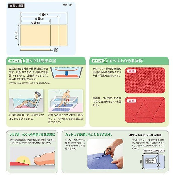 置くだけ簡単設置 安寿 おく楽 すべり止めマット(中) メーカー:アロン化成 レッド/ブルー/グリーン kaigomall-y 05