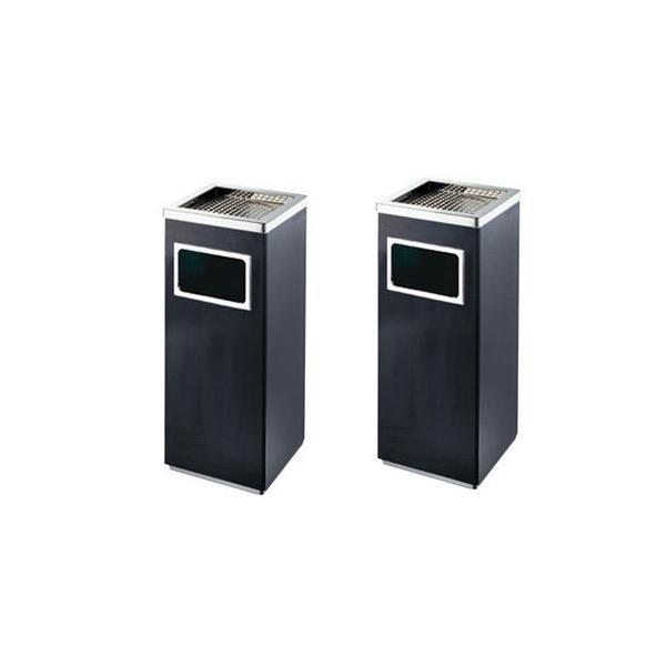 2個セット 屋外灰皿 A-083B 角型 ブラック 吸い殻入れ 吸殻入れ アッシュトレイ ごみ箱 ゴミ箱付き灰皿 分煙 公共施設