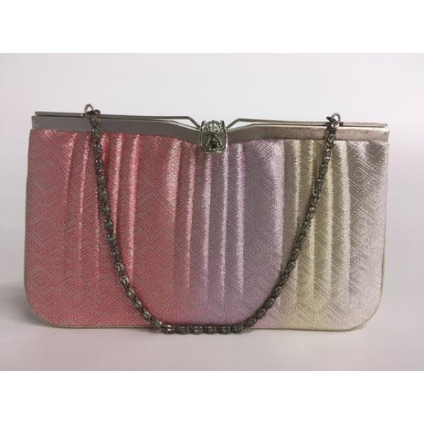 着物 優品 バッグ 和装小物 フォーマル ピンク 入子菱 引箔 中古品 リサイクル バイセル  PK70