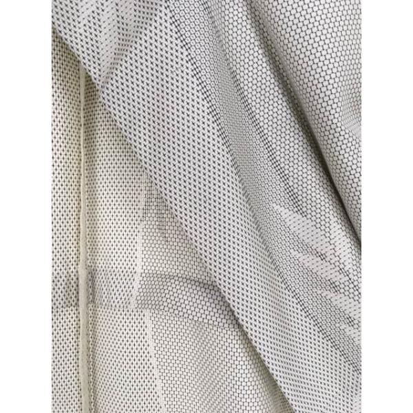 名品 紬 灰白 葉柄 亀甲絣 十字絣 名古屋帯フルセット 正絹 単衣 身丈163cm 裄丈63cm リサイクル バイセル PK30
