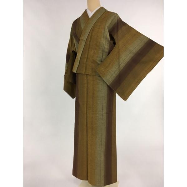 夏 着物 逸品 紬 黄土色 縦縞 ますいわ屋 正絹 単衣(6月/9月) 160cm Mサイズ  リサイクル バイセル