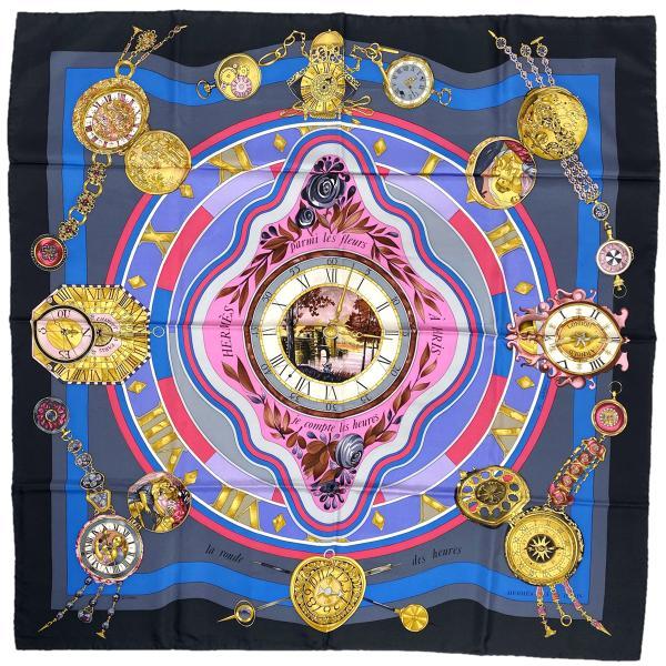 エルメスHERMESカレ90parmilesfleursjecompt花の中で過ごす時間時計スカーフシルクブラックグレーマルチカ