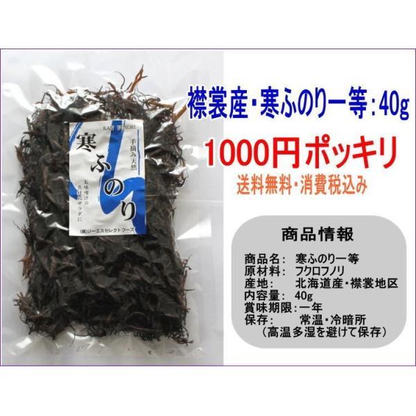 襟裳産 寒ふのり40g 1000円ポッキリ_メール便送料無料 天然素材 味噌汁、麺類など|kaisotonya|03