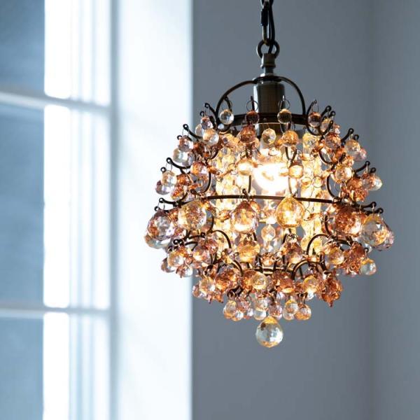 LED対応 1灯 かわいい プチシャンデリア フレッサ シャンデリア ペンダントランプ レトロ ガラス ビーズ トイレ 姫系 天井照明 ライト 可愛い おしゃれ 新生活