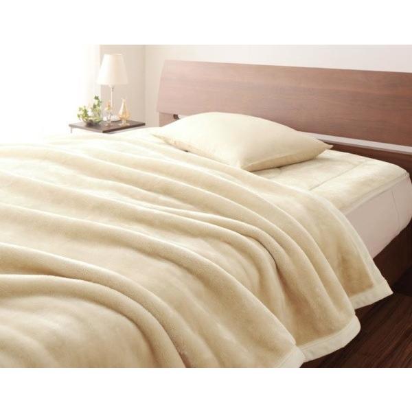 マイクロファイバー プレミアム 厚い 毛布 と 敷パッド一体型ボックスシーツ のセット ダブル 色-アンティークバニラ あすつく