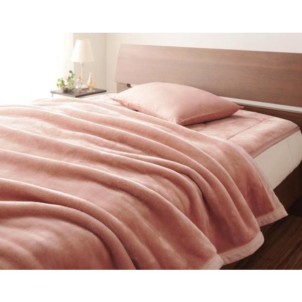 マイクロファイバー プレミアム 厚い 毛布 と 敷パッド一体型ボックスシーツ のセット ダブル 色-ローズピンク あすつく