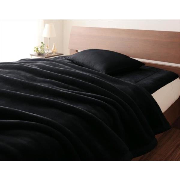 在庫切れ マイクロファイバー プレミアム 厚い 毛布 と 敷パッド一体型ボックスシーツ のセット ダブル 色-ジェットブラック あすつく