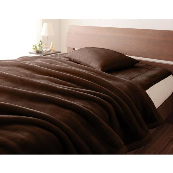 マイクロファイバー プレミアム 厚い 毛布 と 敷パッド一体型ボックスシーツ のセット ダブル 色-モカブラウン あすつく