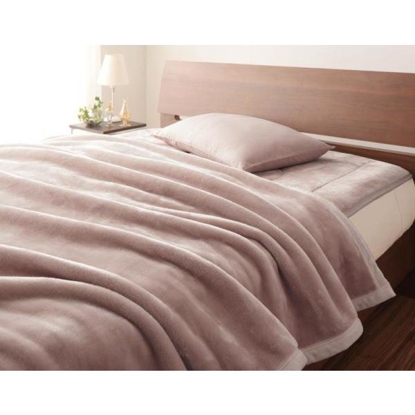 マイクロファイバー プレミアム 厚い 毛布 と 敷パッド一体型ボックスシーツ のセット ダブル 色-スモークパープル あすつく