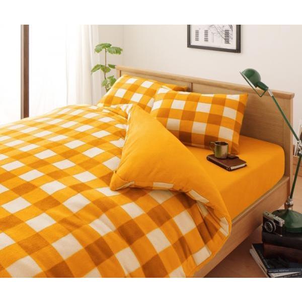 スーパーマイクロフリース ピローケース(枕カバー) の単品1枚 43x63cm 色-チェック柄オレンジ|kaitekibituuhan