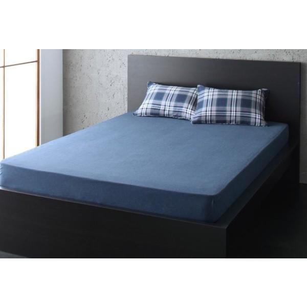 無地ネイビー ベッド用 ボックスシーツ の単品(マットレス用カバー) ダブル 色-無地ネイビー /綿100%|kaitekibituuhan
