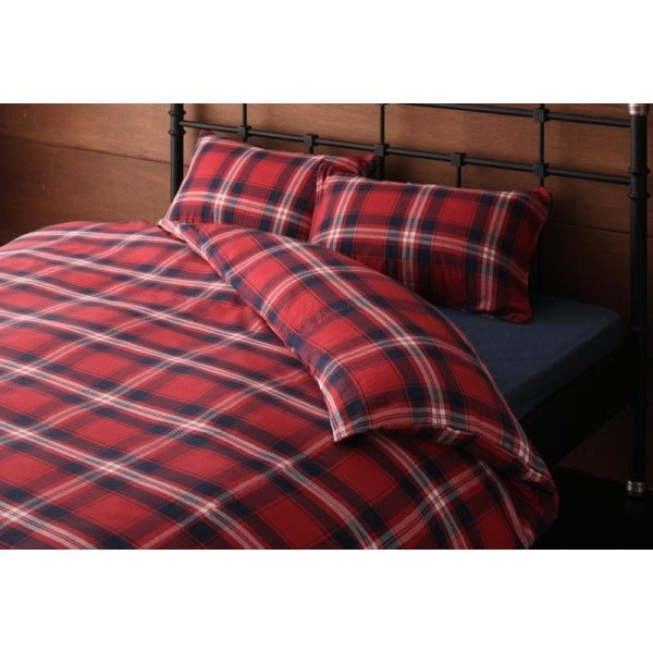 先染めタータンチェック柄 布団カバーセット ベッド用4点(枕カバー2枚 + 掛け布団カバー + ボックスシーツ) ダブル 色-レッド /綿100%|kaitekibituuhan