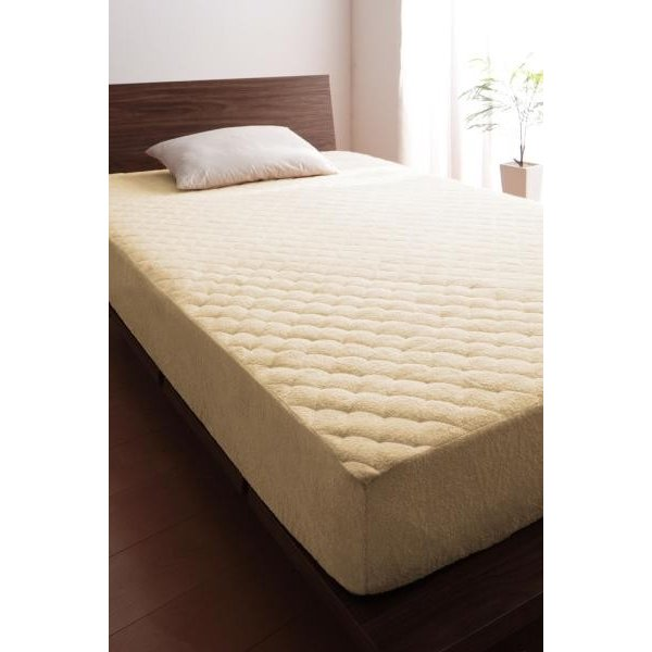 敷きパッド一体型ボックスシーツ の同色2枚セット シングル ショート丈 /タオル地 通気性 洗える 綿100%パイル kaitekibituuhan 04