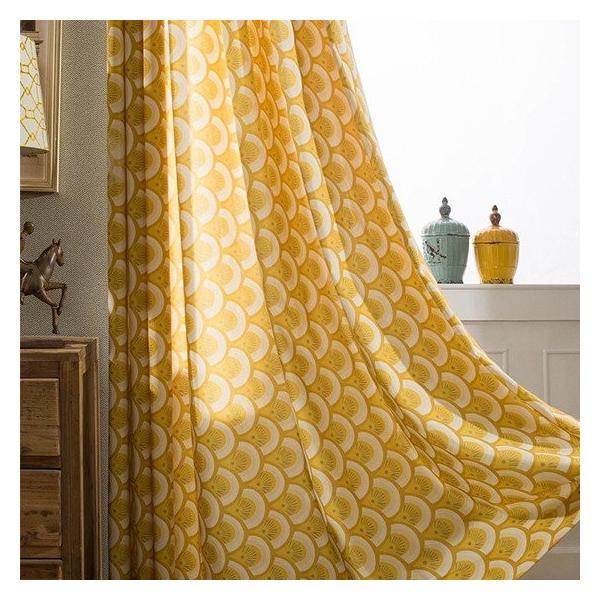 オーダーカーテン 送料無料 ドレープカーテン タッセル オーダー 黄色 遮熱 北欧 可愛い カーテン|kaitekihome|03