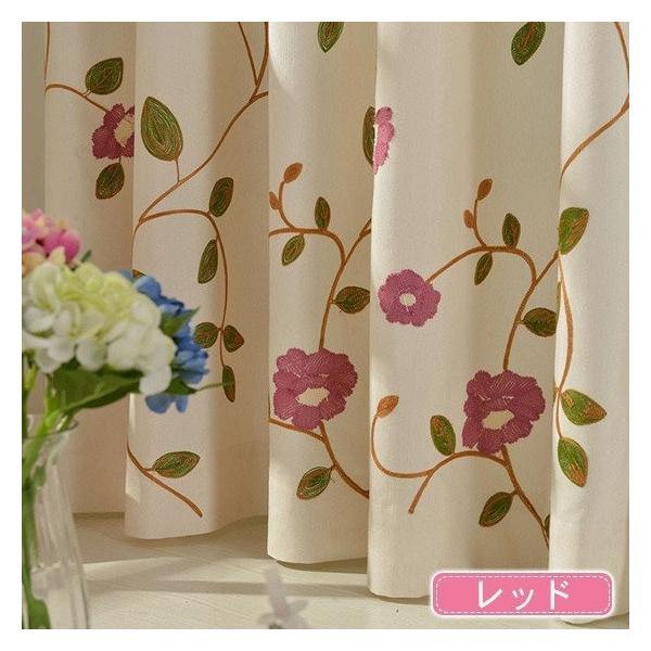 カーテン ローズ 刺繍 オーダーカーテン 花柄 柄 薔薇 バラ かわいい オーダー おしゃれ 北欧|kaitekihome|03