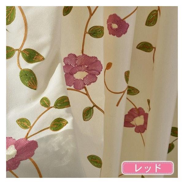 カーテン ローズ 刺繍 オーダーカーテン 花柄 柄 薔薇 バラ かわいい オーダー おしゃれ 北欧|kaitekihome|04