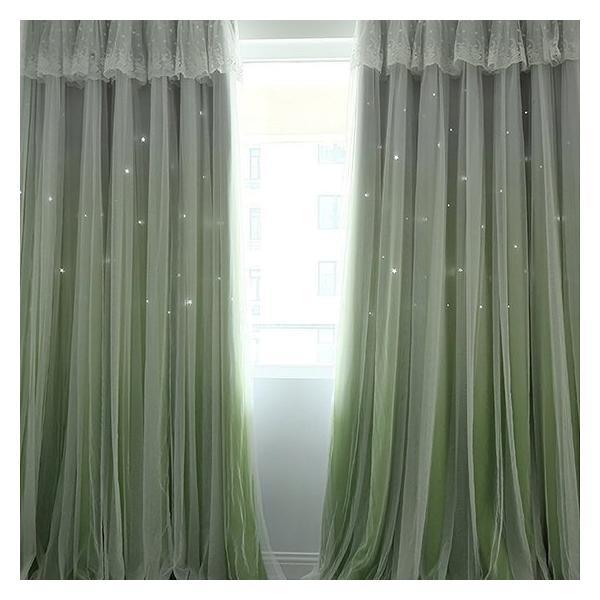 カーテン 遮光 おしゃれ 北欧 安い グラデーション 一体型カーテン 透かし彫り 星柄 送料無料 子供部屋 女の子 姫系一体型 上飾り kaitekihome 05
