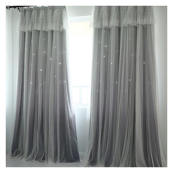 カーテン 遮光 おしゃれ 北欧 安い グラデーション 一体型カーテン 透かし彫り 星柄 送料無料 子供部屋 女の子 姫系一体型 上飾り kaitekihome 09
