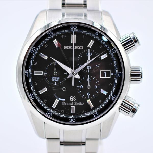セイコー 腕時計グランドセイコースプリングドライブクロノSBGC003ブラック裏スケマスターショップ 中古品