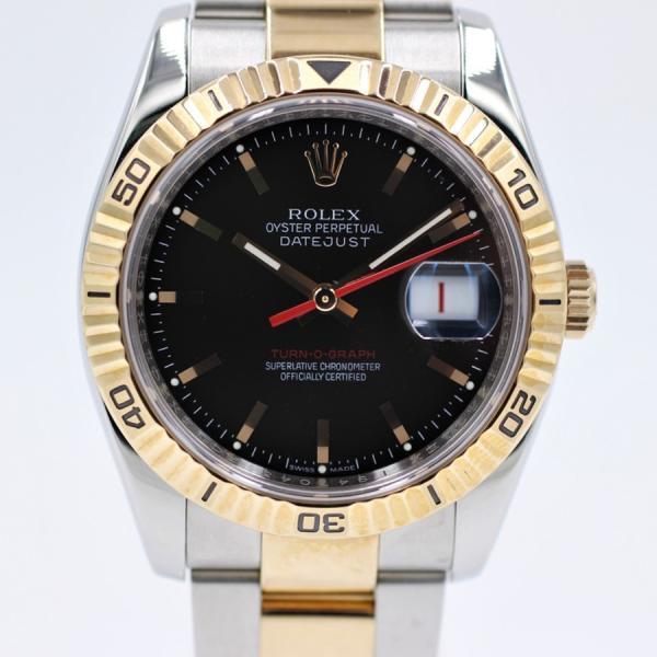 ロレックス 腕時計ターノグラフ116261PG×SSブラックデイトジャスト自動巻き中古品