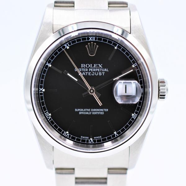 ロレックス 腕時計デイトジャスト16200ブラックY番SS自動巻き中古品