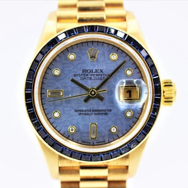 ロレックス 腕時計デイトジャスト69118サファイアベゼルブルーシェル10PDK18YGレディース金無垢自動巻き中古品
