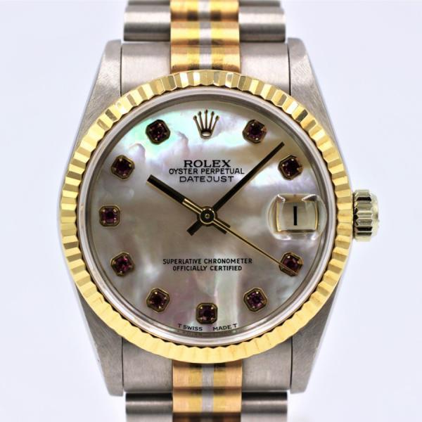 ロレックス 腕時計デイトジャスト68279BICトリドールシェル10Pルビーボーイズサイズ金無垢自動巻き中古品