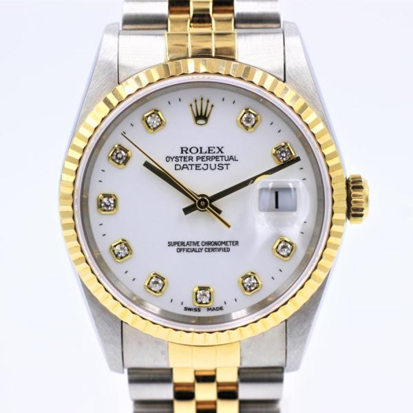 ロレックス 腕時計デイトジャスト16233Gホワイト10PDYG×SS自動巻き中古品