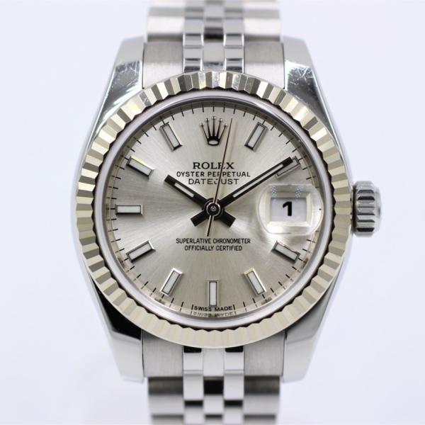 ロレックス 腕時計デイトジャスト179174ランダムシルバーWG×SSレディース自動巻き中古品