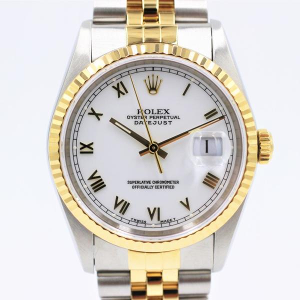 ロレックス 腕時計デイトジャスト16233ホワイトローマYG×SSコンビT番メンズ自動巻き中古品