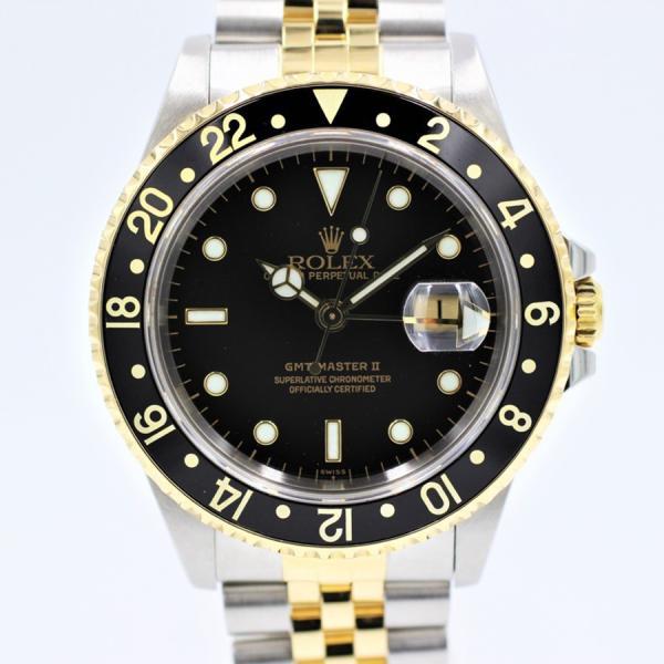 ロレックス 腕時計GMTマスターII16713ブラックYG×SSジュビリーブレス自動巻き中古品