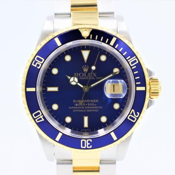ロレックス 腕時計サブマリーナ16613ブルーYG×SSU番青サブ自動巻き中古品