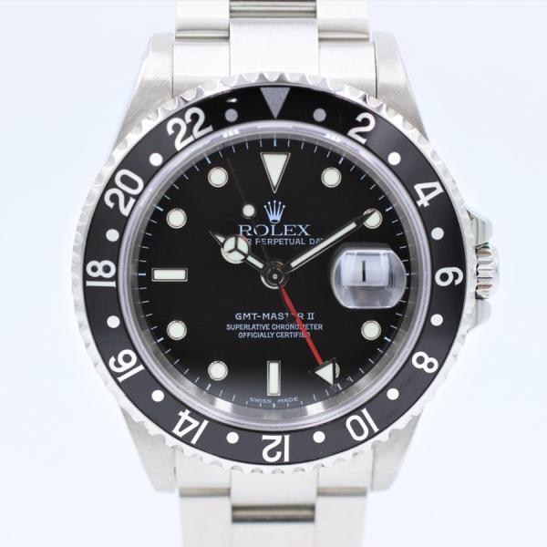 ロレックス 腕時計GMTマスターII16710ブラック×ブラックY番自動巻き中古品