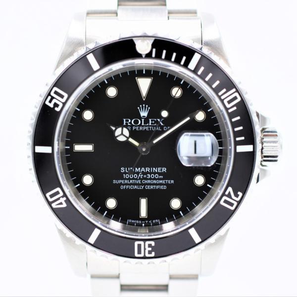 ロレックス 腕時計サブマリーナデイト16610ブラックSSU番ダイバーズウォッチ自動巻き中古品