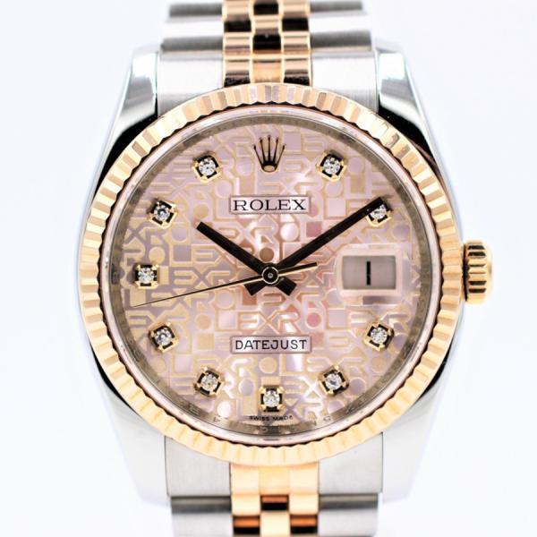 ロレックス 腕時計デイトジャスト116231Gピンク彫りコンピュータ10Pダイヤランダムメンズ自動巻き中古品