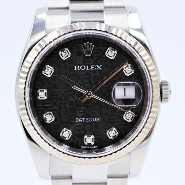 ロレックス 腕時計デイトジャスト116234Gブラック彫りコンピュータ10PDランダム品番自動巻き中古品