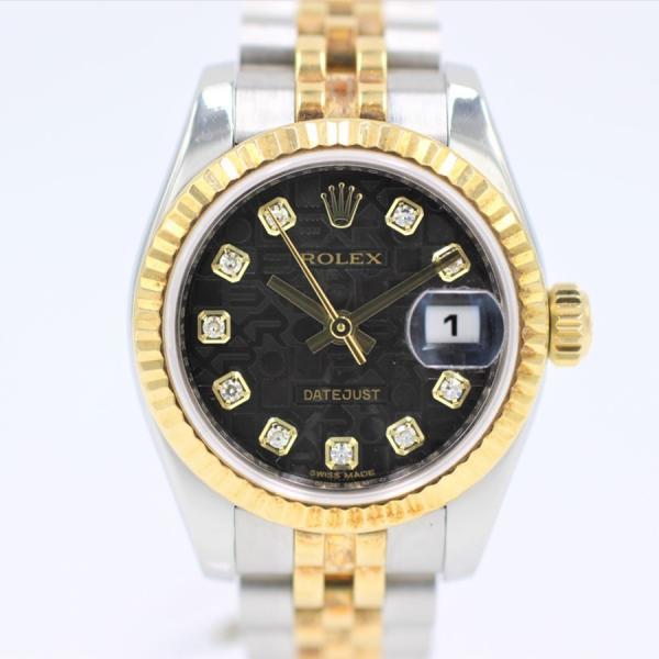 ロレックス 腕時計デイトジャスト179173Gブラックコンピュータ10ダイヤYG×SSランダムレディース自動巻き中古品