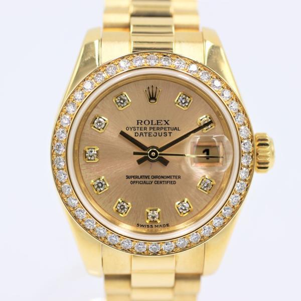 ロレックス 腕時計デイトジャスト179138Gシルバー10PDダイヤベゼルYGレディース自動巻き中古品