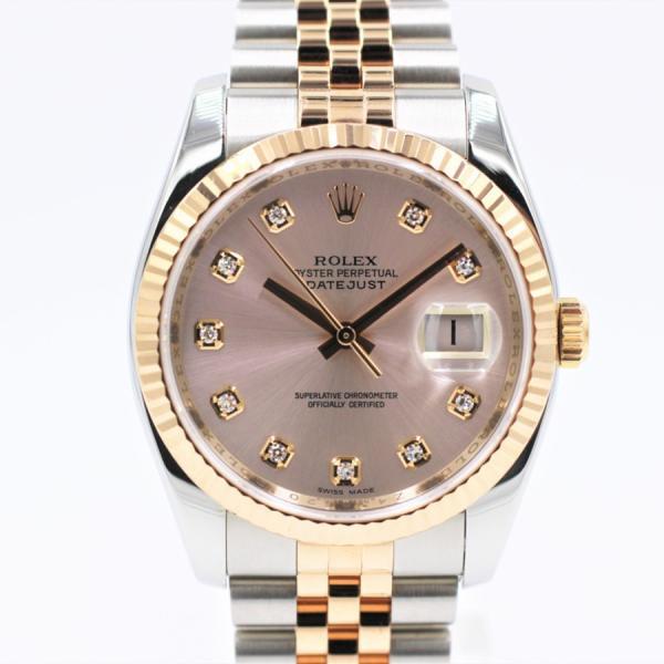 ロレックス 腕時計デイトジャスト116231Gピンク10PDPG×SSコンビZ番メンズ自動巻き中古品