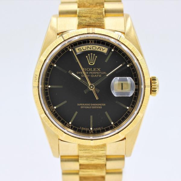 ロレックス 腕時計デイデイト18248バーク仕上ブラックK18YGメンズ自動巻き中古品