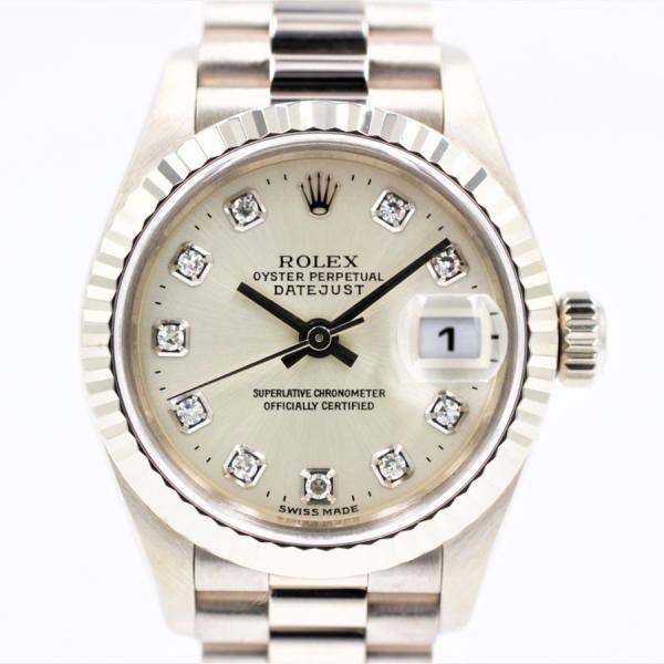 ロレックス 腕時計デイトジャスト79179Gシルバー10ダイヤK18WGレディース自動巻き中古品