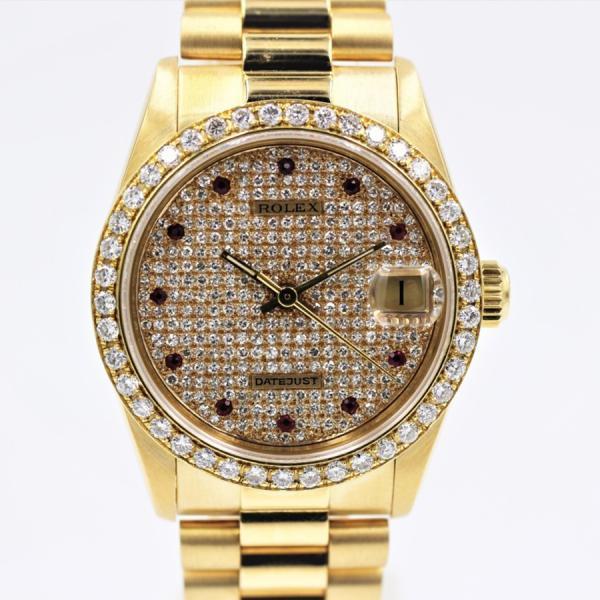 ロレックス 腕時計デイトジャスト68278宝飾時計アフターダイヤルビーK18YGボーイズサイズ自動巻き中古品